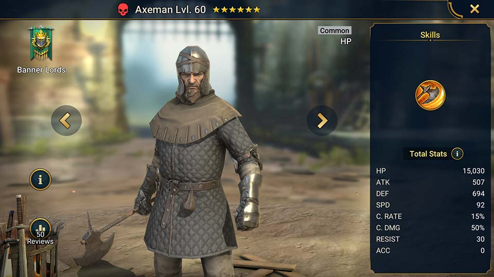 Axeman's information on skills, equipment, and mastery build for dungeon campaign, clan boss, and arena.