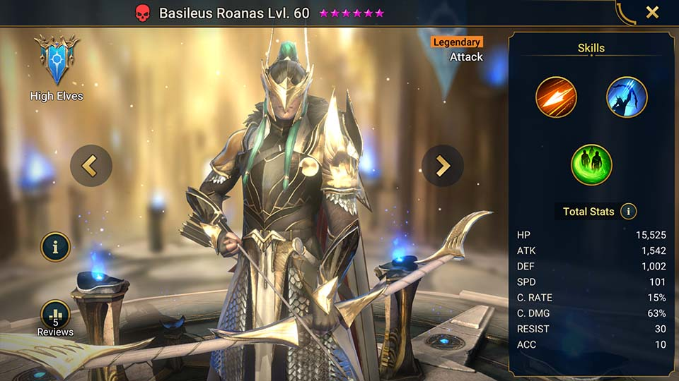 Basileus Roanas's information on skills, equipment, and mastery build for dungeon campaign, clan boss, and arena.
