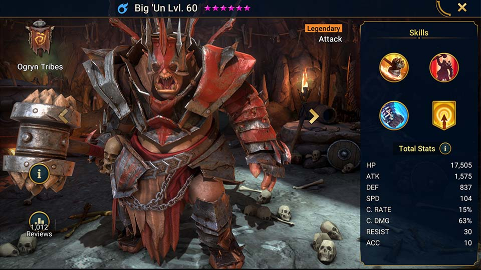 Big 'Un's information on skills, equipment, and mastery build for dungeon campaign, clan boss, and arena.