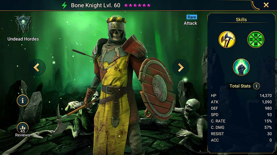 Bone Knight's information on skills, equipment, and mastery build for dungeon campaign, clan boss, and arena.