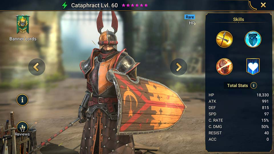 Cataphract's information on skills, equipment, and mastery build for dungeon campaign, clan boss, and arena.