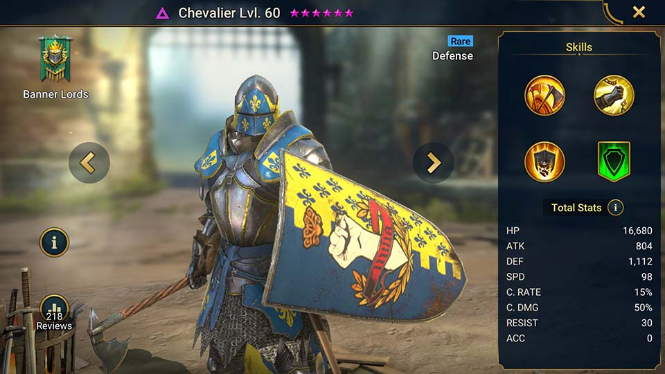 Chevalier's information on skills, equipment, and mastery build for dungeon campaign, clan boss, and arena.
