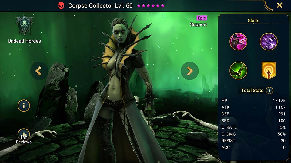 Corpse Collector's information on skills, equipment, and mastery build for dungeon campaign, clan boss, and arena.