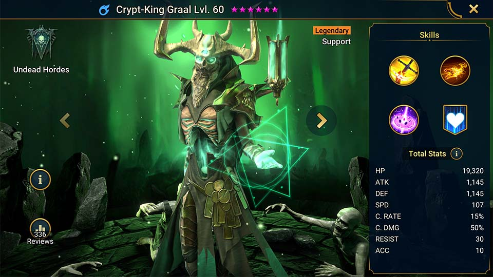 Crypt-King Graal's information on skills, equipment, and mastery build for dungeon campaign, clan boss, and arena.