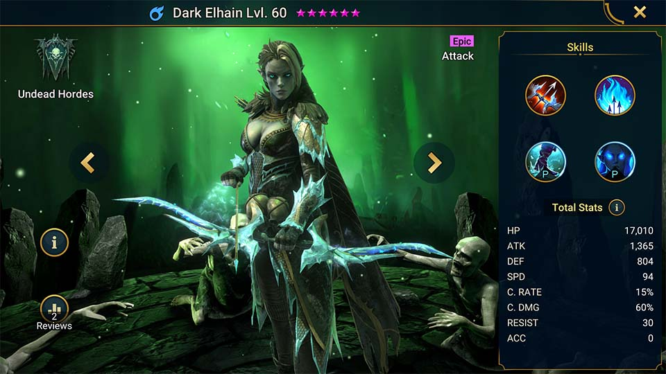 Dark Elhain's information on skills, equipment, and mastery build for dungeon campaign, clan boss, and arena.
