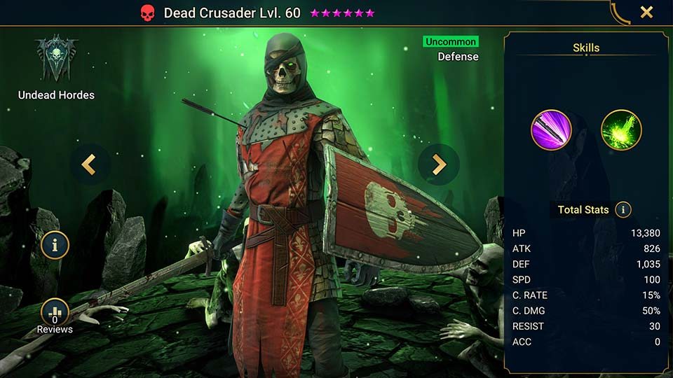 Dead Crusader's information on skills, equipment, and mastery build for dungeon campaign, clan boss, and arena.
