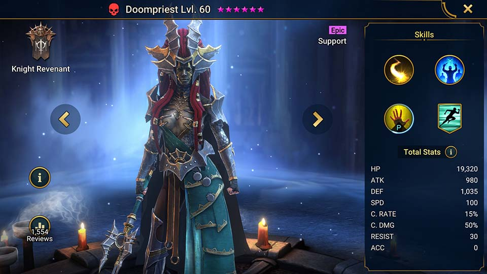 Doompriest's information on skills, equipment, and mastery build for dungeon campaign, clan boss, and arena.