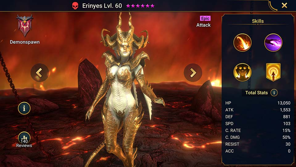 Erinyes's information on skills, equipment, and mastery build for dungeon campaign, clan boss, and arena.