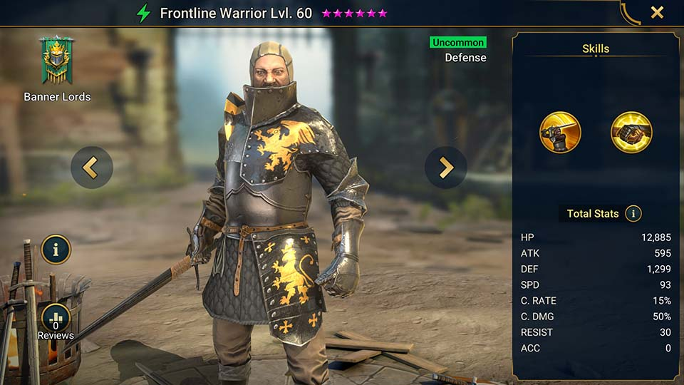 Frontline Warrior's information on skills, equipment, and mastery build for dungeon campaign, clan boss, and arena.