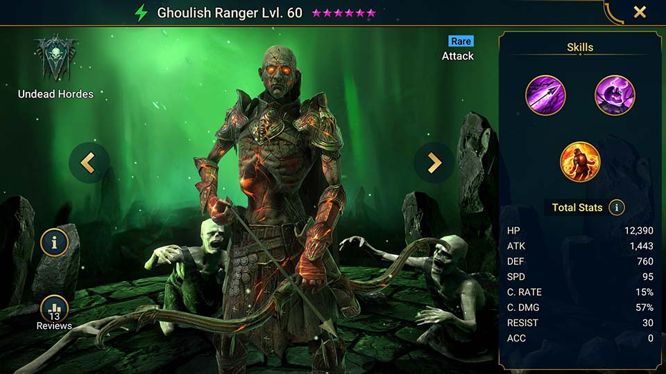 Ghoulish Ranger's information on skills, equipment, and mastery build for dungeon campaign, clan boss, and arena.