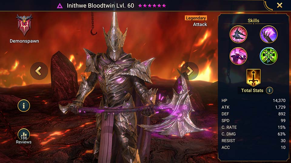 Inithwe Bloodtwin's information on skills, equipment, and mastery build for dungeon campaign, clan boss, and arena.