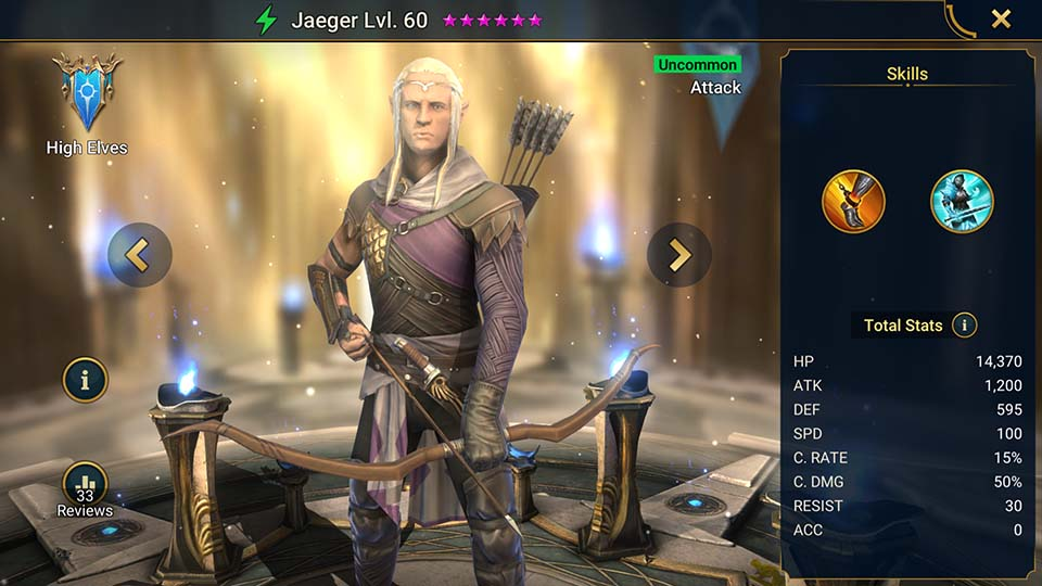 Jaeger's information on skills, equipment, and mastery build for dungeon campaign, clan boss, and arena.