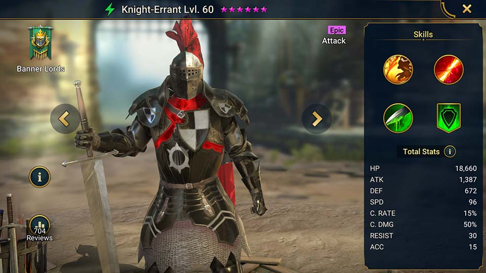 Knight-Errant's information on skills, equipment, and mastery build for dungeon campaign, clan boss, and arena.