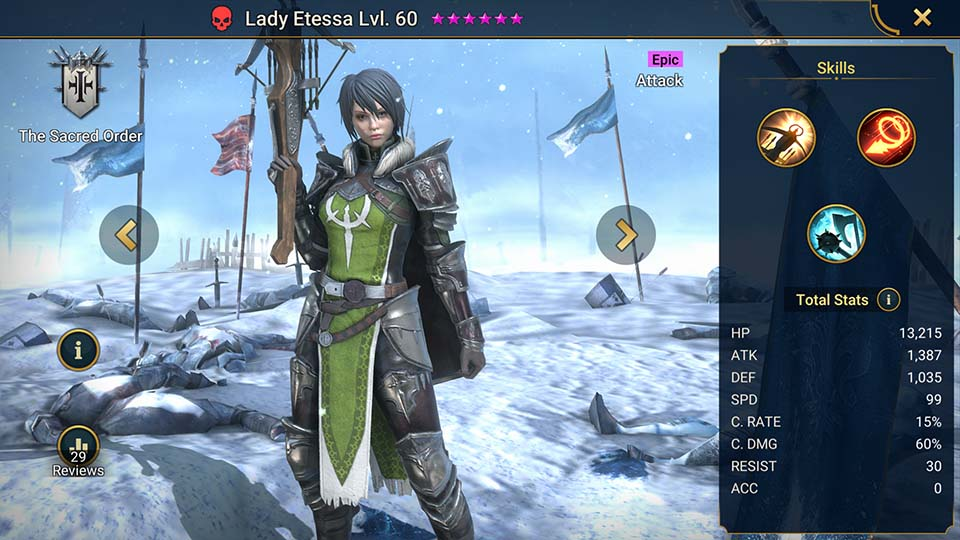 Lady Etessa's information on skills, equipment, and mastery build for dungeon campaign, clan boss, and arena.
