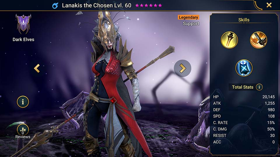 Lanakis the Chosen's information on skills, equipment, and mastery build for dungeon campaign, clan boss, and arena.