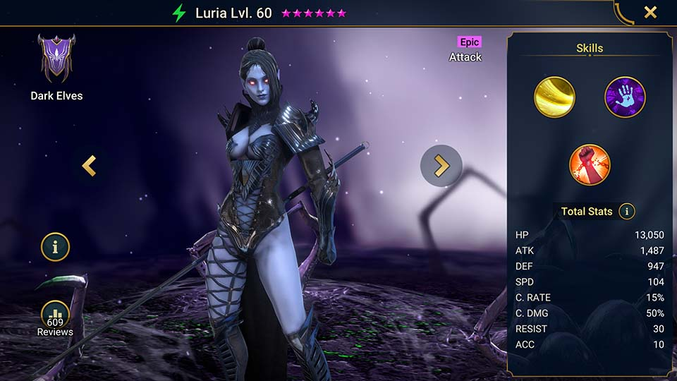 Luria's information on skills, equipment, and mastery build for dungeon campaign, clan boss, and arena.