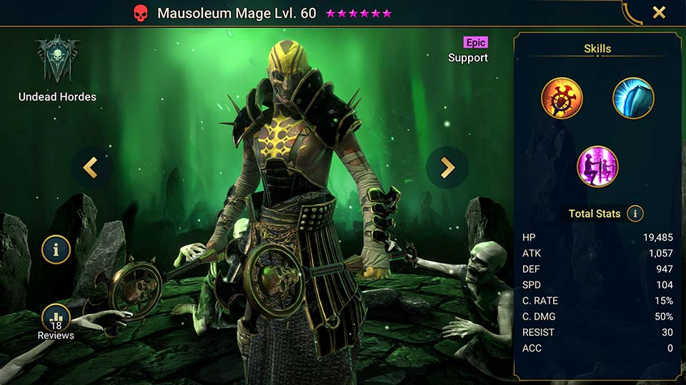 Mausoleum Mage's information on skills, equipment, and mastery build for dungeon campaign, clan boss, and arena.