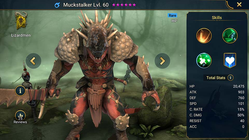 Muckstalker's information on skills, equipment, and mastery build for dungeon campaign, clan boss, and arena.