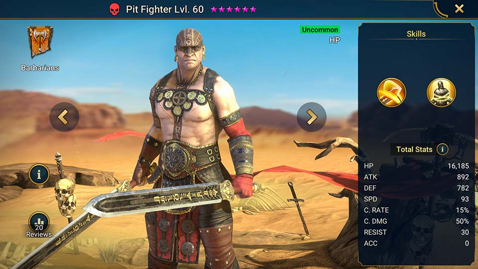 Pit Fighter's information on skills, equipment, and mastery build for dungeon campaign, clan boss, and arena.