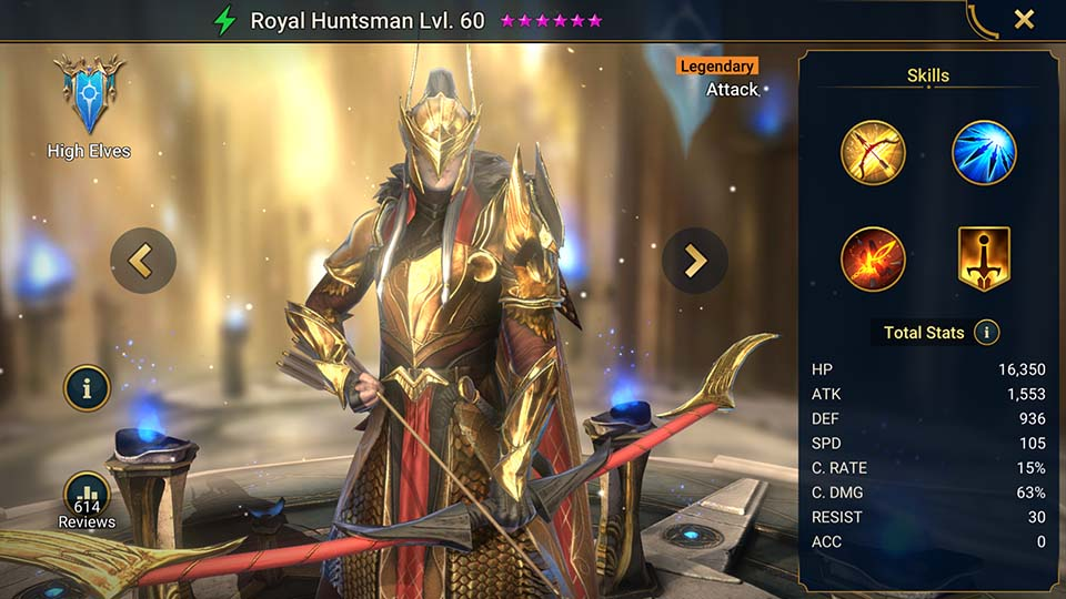 Royal Huntsman's information on skills, equipment, and mastery build for dungeon campaign, clan boss, and arena.