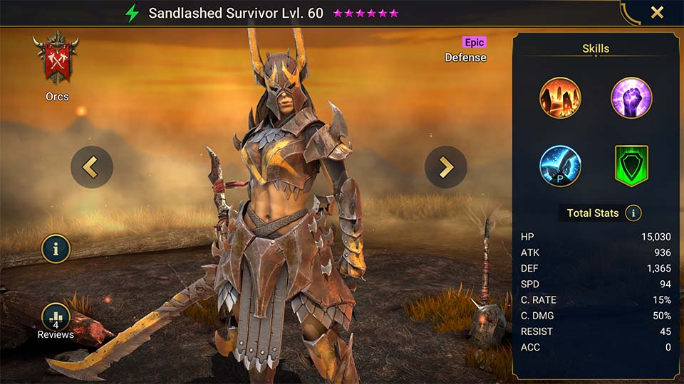 Sandlashed Survivor's information on skills, equipment, and mastery build for dungeon campaign, clan boss, and arena.