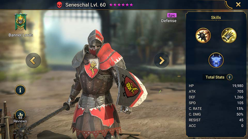 Seneschal's information on skills, equipment, and mastery build for dungeon campaign, clan boss, and arena.