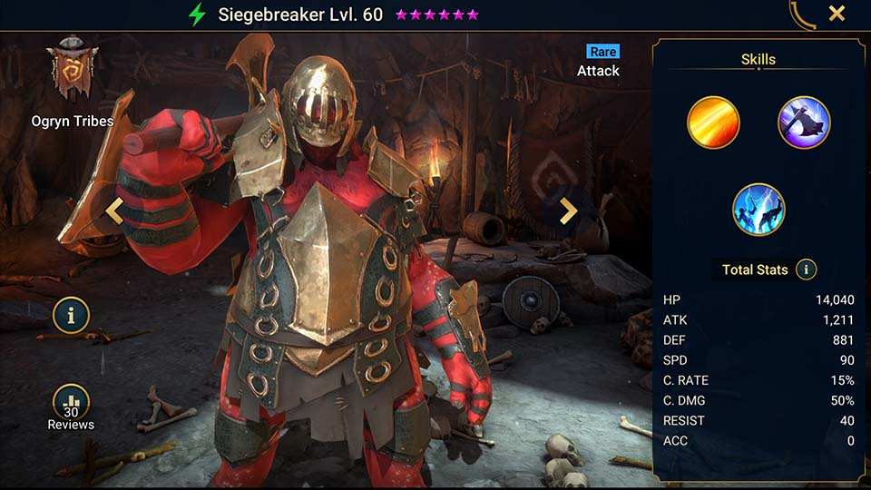 Siegebreaker's information on skills, equipment, and mastery build for dungeon campaign, clan boss, and arena.