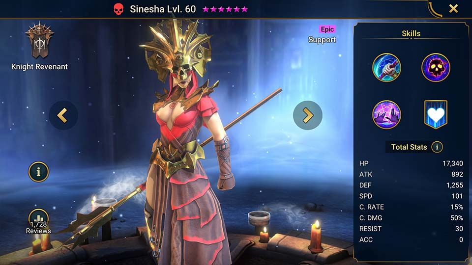 Sinesha's information on skills, equipment, and mastery build for dungeon campaign, clan boss, and arena.