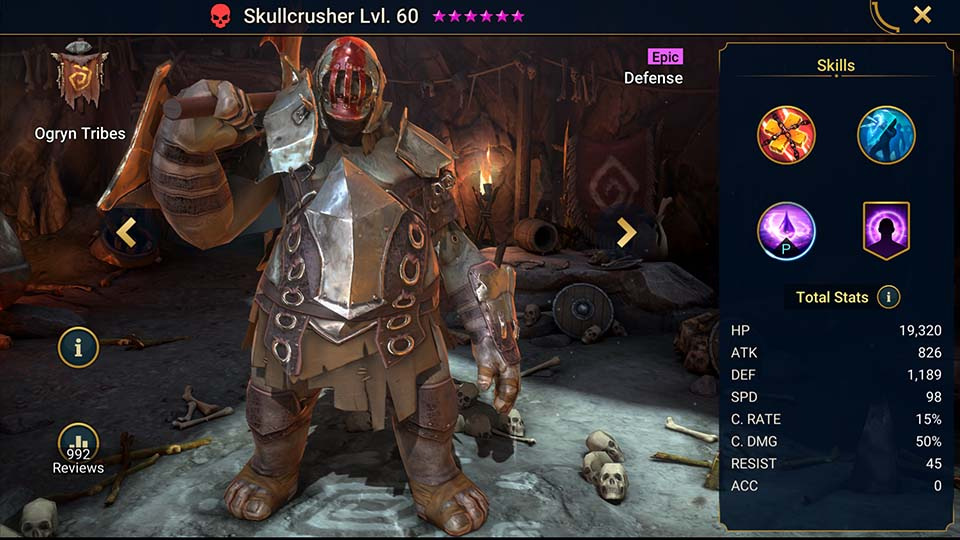 Skullcrusher's information on skills, equipment, and mastery build for dungeon campaign, clan boss, and arena.