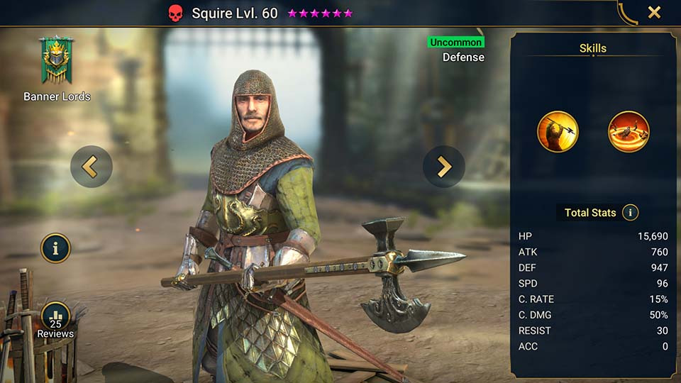 Squire's information on skills, equipment, and mastery build for dungeon campaign, clan boss, and arena.