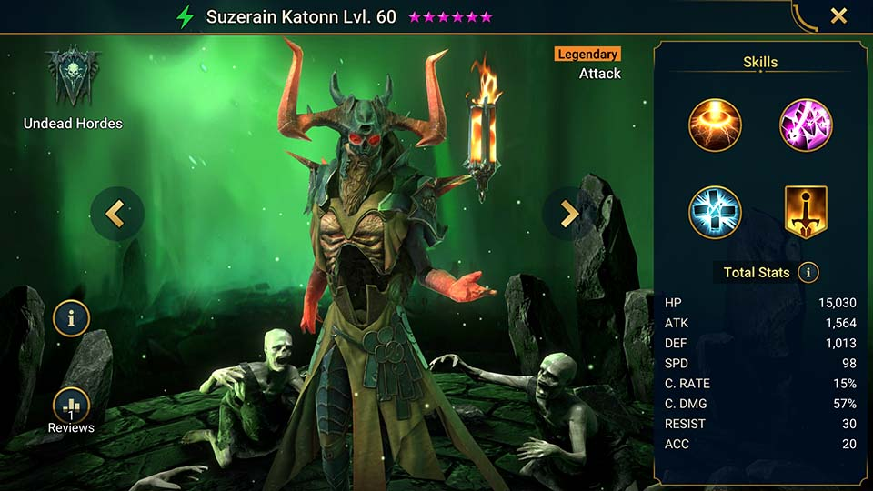 Suzerain Katonn's information on skills, equipment, and mastery build for dungeon campaign, clan boss, and arena.