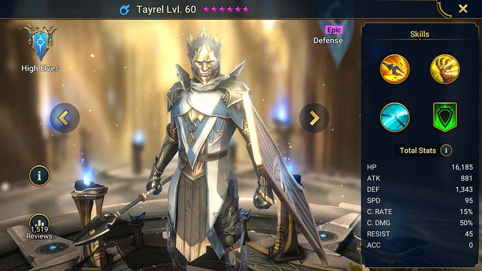 Tayrel's information on skills, equipment, and mastery build for dungeon campaign, clan boss, and arena.