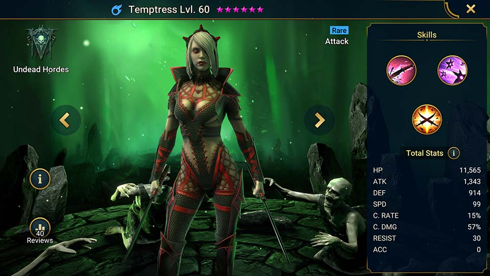 Temptress's information on skills, equipment, and mastery build for dungeon campaign, clan boss, and arena.