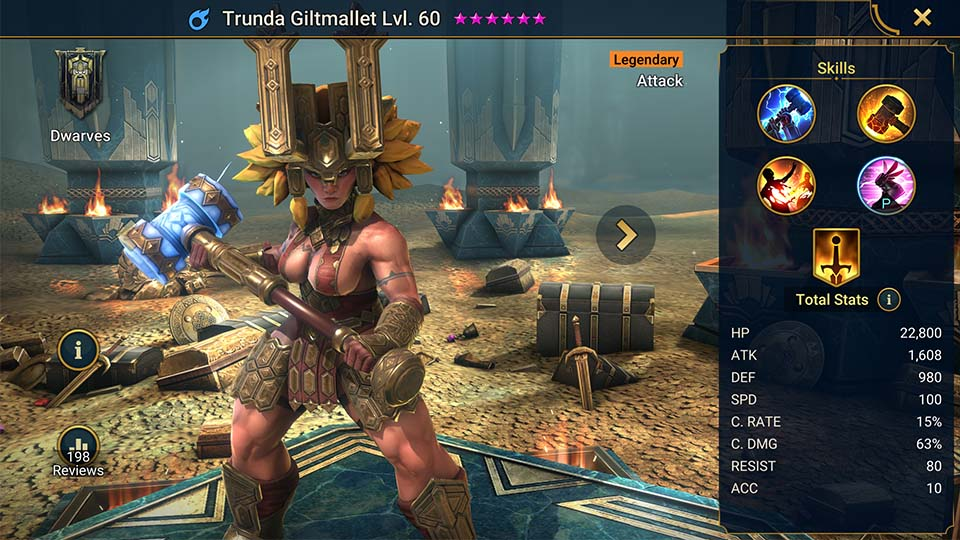 Trunda Giltmallet's information on skills, equipment, and mastery build for dungeon campaign, clan boss, and arena.
