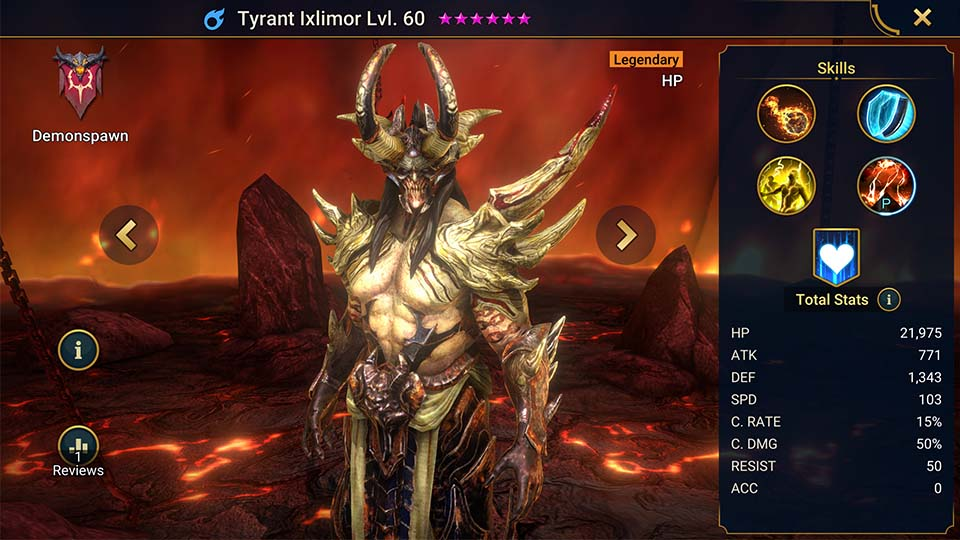 Tyrant Ixlimor's information on skills, equipment, and mastery build for dungeon campaign, clan boss, and arena.