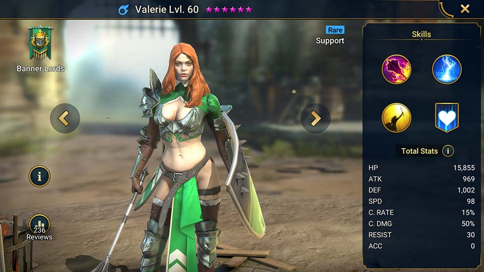 Valerie's information on skills, equipment, and mastery build for dungeon campaign, clan boss, and arena.