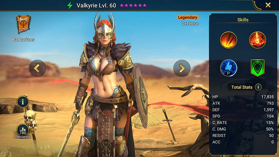 Valkyrie's information on skills, equipment, and mastery build for dungeon campaign, clan boss, and arena.