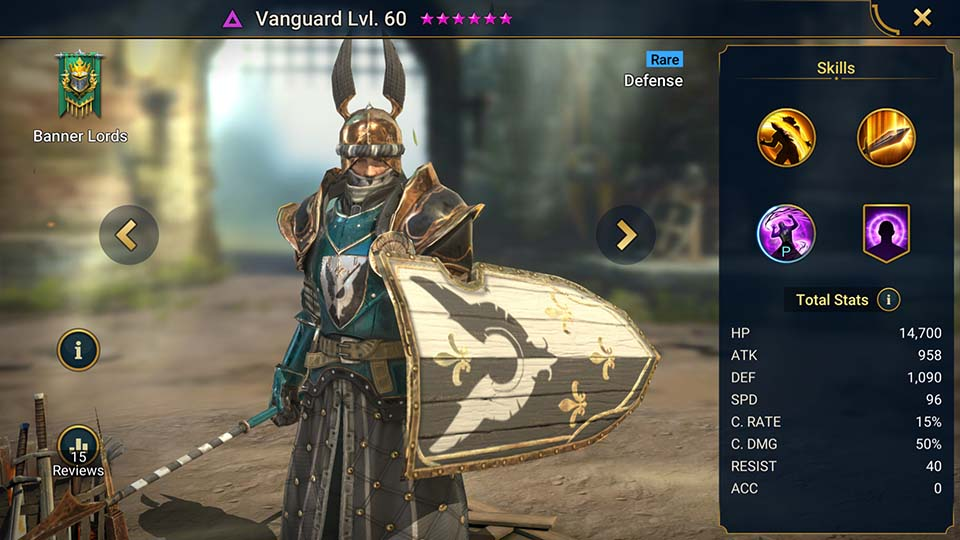 Vanguard's information on skills, equipment, and mastery build for dungeon campaign, clan boss, and arena.