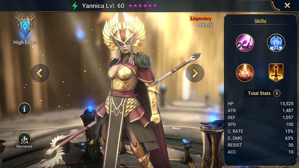 Yannica's information on skills, equipment, and mastery build for dungeon campaign, clan boss, and arena.
